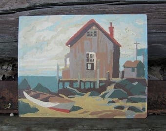 Vintage Paint by Number Boathouse Fishing Shack Distressed Craft Master Mid Century 1959 PBN Unframed Painting