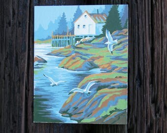 Vintage Paint by Number House Seagulls Coast Ocean Craft House PBN Unframed Painting