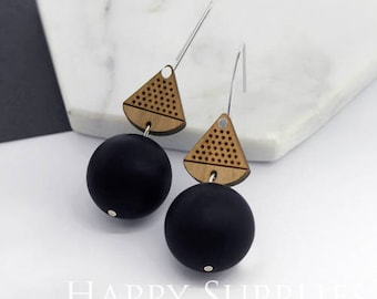 1 Pair (SBW27E) Silicone Balls Laser Cut Geometric Wooden Dangle Earrings - HEW Series - Ocean Sea Summer Beach