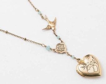 Heart Locket, Locket Necklace in Yellow Gold Filled with Blue Opal Cyrstal & Bird Charm, Flower Motif, Wedding Gift, Vintage Jewelry