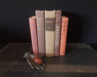 Used Book Stack Brown Coral Chestnut - Old Book Set - Vintage Instant Library - Neutral Earth Tone Book Bundle