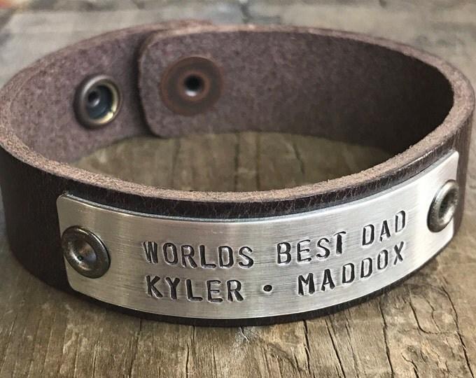 Custom Dad Bracelet Personalized Men's Leather Bracelet Leather Worlds Best Dad bracelet