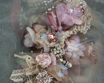 Vintage posy  brooch - ethereal bold ornate brooch ,  embroidered and beaded brooch, mixed media