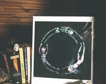 Cycles original dark black art oil painting print by Jenna Fournier life cycle skeleton figurative nude female spiritual psychology cosmic