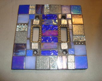 Blue MOSAIC LIGHT SWITCH Cover - Wall Plate, Wall Art, Home Decor, Cobalt blue, gray, Lavender, Silver