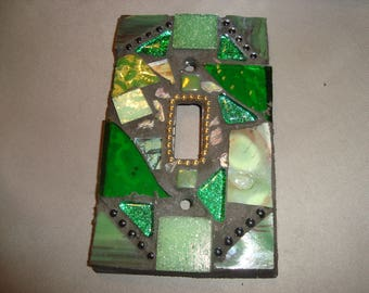 MOSAIC Light Switch Plate -  Single Switch, Wall Plate, Wall Art, Shades of Green, Touches of Gold and Black