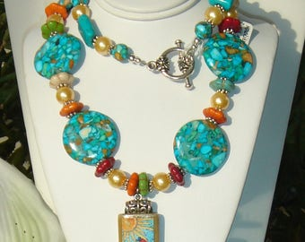 Bamboo Birdhouse Pendant Turquoise Orange Green Yellow Silver Whimsicle Gold Pearls Necklace