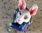White Rabbit Alice in Wonderland Sculpture - OOAK Ornament - Egg Art  - Animal Art - Fantasy Art - Anthropomorphic - polymer clay figurine