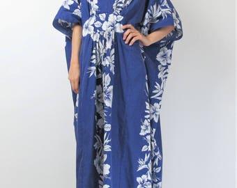 Hawaiian Dress Summer Caftan Dress Royal Blue Cotton Maxi Dress Floral Hawaiian Print Dress Kaftan Muu Muu Plus Size Dress E10075