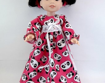 "Nightgown for 14.5"" Doll Bright Pink Panda Gown Fits Wellie Wishers and Similar Dolls"