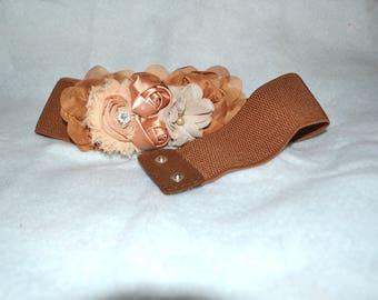 Chiffon Flower cinch belt, Wide elastic stretch corset belt,  stretch belt, Wide belt, Caramel Brown belt, Brown stretch belt