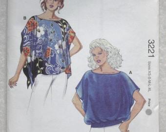 "Sz XS, S, M, Lg, XL Kwik Sew Sewing Pattern 3221 Boat Neck Tops  For Lightweight Woven Fabrics . bust 31.5""-45"""