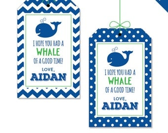 Whale Birthday Party - Whale Party Favor Tags - Personalized DIY printable favor tags