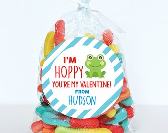Valentine's Day Stickers - Frog - I'm Hoppy You're My Valentine! - Sheet of 12 or 24