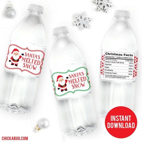 Instant Download Santa S Melted Snow Water Bottle Labels Diy