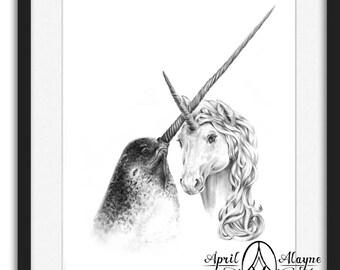 Best Friends-Narwhal-Unicorn-  Illustration- 8 X10 print- 5X7 print- bff