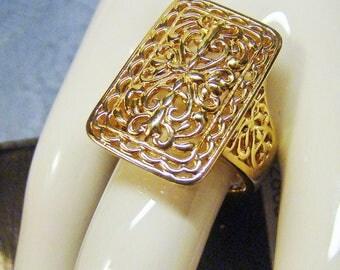 Lavish Sterling with 14K Gold Vermeil Size nine Filigree Ring