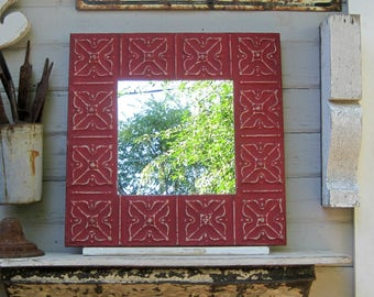 "Tin ceiling tile mirror. Antique Architectural salvage.  24"" Bathroom Bedroom Entryway Wall Mirror. Red mirror."