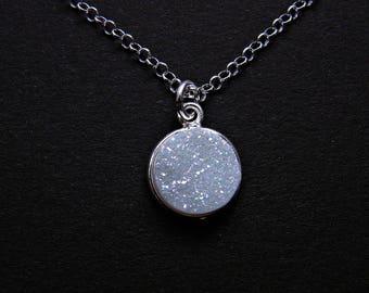 Druzy necklace, white druzy necklace, rainbow druzy pendant, circle necklace, silver druzy pendant, small round agate druzy necklace