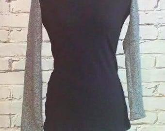 Black and Gray Round Neck Organic Shirt