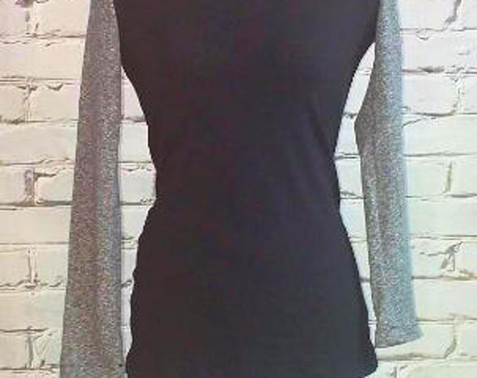 Black and Gray Round Neck Organic Shirt