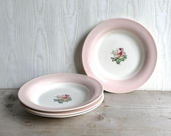 """Tea Rose Cotillion Pink Limoges USA set Of 4 Plates 8"""" Shabby Cottage"""