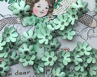 Vintage metal beads, Vintage Enamel Flower Beads, Green Enamel Flowers, Enamel beads, Shabby chic beads, Spacer beads, Metal flowers #G21A