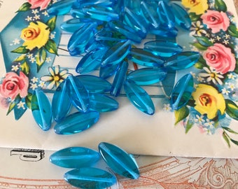 Vintage Czech Glass Beads, Traditional sapphire beads, 16x7mm beads, Preciosa beads, Modern Beads, oval Beads, Blue Beads, #B128B