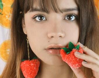 strawberry pom pom earrings-pom pom earrings