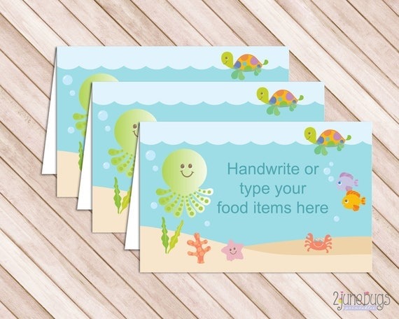 Under The Sea Baby Shower Food Tent Labels Cards Or Place Cards