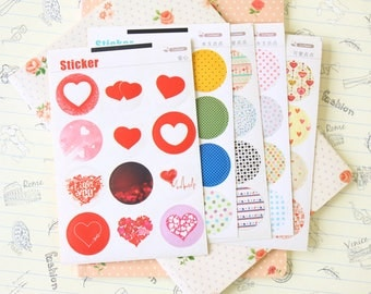 Hearts Coffee X Point Stickers round paper fancy pattern deco seals