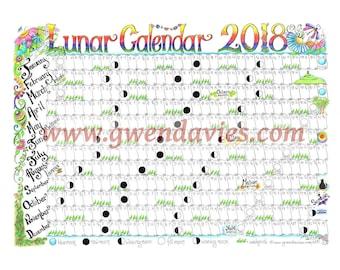 2018 Lunar Moon Calendar hand drawn A3 gardening astrology pagan Wiccan diary planner hand drawn chart