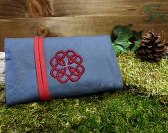 Pouch/tobacco grey & red with Celtic embroidery