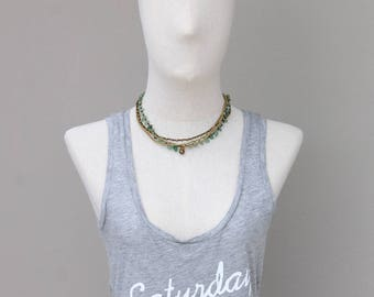 Jade Multi Strand Brass Necklace