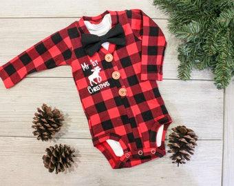 Buffalo Plaid Cardigan. Baby Boy Christmas Outfit. Buffalo Plaid Baby Outfit. Newborn Boy. Baby Lumberjack.  1st First Christmas. Moose.