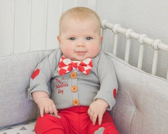 Baby Boy 1st Valentines Day Outfit. Gray Cardigan Set with Pants. Preppy. Bow tie. Heart Elbow Patches.  Newborn Boy. Red Pants