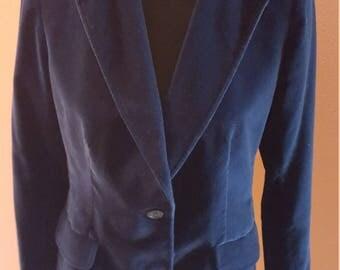 Vintage Midnight Blue Velvet Jacket