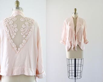blush lace back jacket