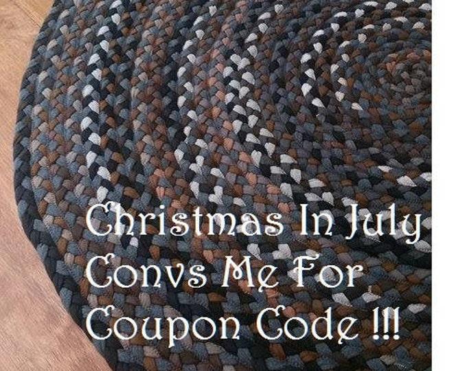 "53"" On Sale brown hand braided cotton rug"