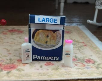 Miniature Baby Products Set, Diapers, Powder, Lotion, Dollhouse Miniatures, 1:12 Scale, Crafts, Nursery Decor, Mini Baby Products
