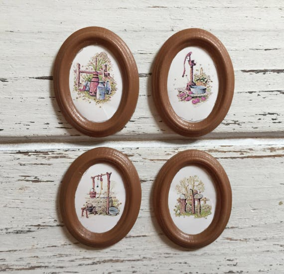 """Miniature Framed Pictures, """"Country Prints"""" 4 Piece Set, Dollhouse Miniatures, 1:12 Scale, Dollhouse Accessories, Topper, Decor, Crafting"""