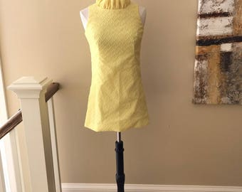 Vintage Handmade Yellow Mod Sleeveless Mini Dress Size Small Extra Small