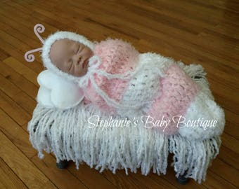 Ready To Ship, Crochet Newborn Baby Girl, Furry Little Caterpillar Set, Newborn Photo Prop, Bonnet, Cocoon, Baby Shower Gift, Pink and White
