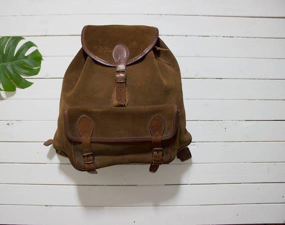 Vintage Leather Backpack / Suede Leather Backpack / Drawstring Backpack / Leather Rucksack / Brown Leather Backpack