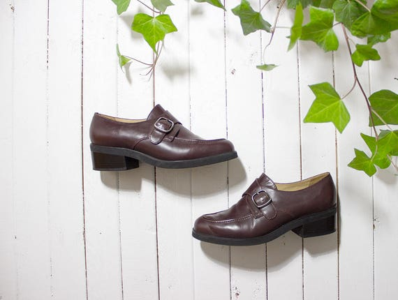 Vintage Leather Oxfords 6 / Brown Leather Oxfords / Buckle Flats / Buckle Oxfords / Monk Strap Shoes / Buckle Strap Oxfords