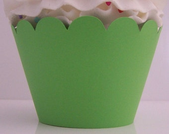 Lime Green Cupcake  Wrappers....Fully Assembled...Set of 12, Watermelon Party, Citrus Party