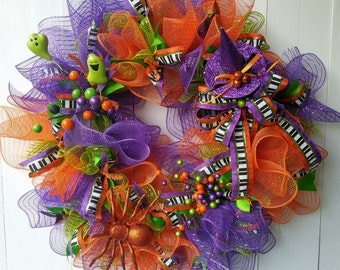 Deco Mesh Halloween Wreath, Fall Wreath,  Welcome Wreath, Front Door Wreath