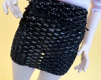 Black Gold Fishnet Mini Skirt for MSD SD+ Ball Jointed Doll
