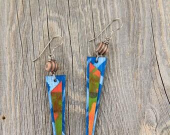 WANDERER / Wood Earrings / Women's Jewelry / Gifts For Her / Sustainable / Earrings / Acrylic Painting / Art / Art Jewelry