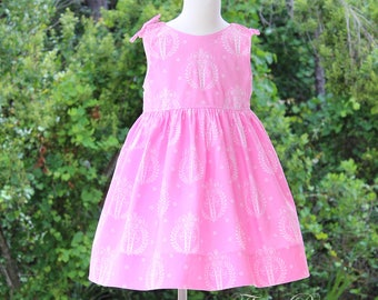 """CLEARANCE!! Girl's Sleeveless dress featuring Tanya Whelan's """"French Hat"""" in pink  Ready to Ship (reg. 35.00)"""